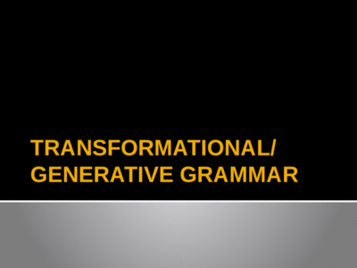 What Linguistics can Teach you About Transformational-Generative Grammar?