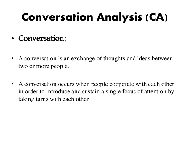 What Is Conversation Analysis In Linguistics
