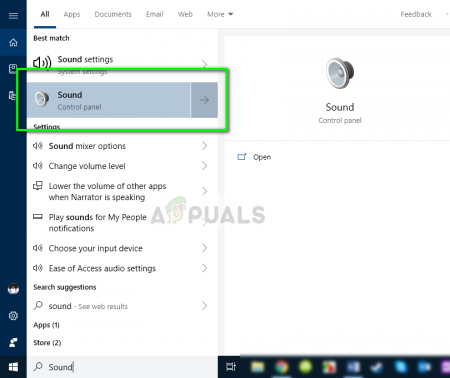 Disabling audio options - Fortnite  Press Windows + S, type »sound» in the dialog box and open the application from the control panel.
