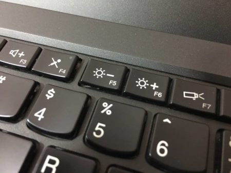 Adjust screen brightness using hotkeys Almost all notebooks come with dedicated keys for quickly adjusting the screen brightness. For example, on my ThinkPad laptop, Fn + F5 / F6 can be used to adjust the screen brightness.