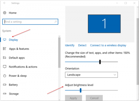 Clicking on the shine tile once will take the shine to the next level. For example, if you click on the tile when the brightness is at 25%, the brightness will increase to 50%. Once the brightness reaches 100%, click the tile again to start from 0%.  Method 3 of 4  Use settings to adjust screen brightness in Windows 10 This is the best way to set the correct screen brightness, as you can increase or decrease the brightness one percent at a time.  Step 1: Open Settings by clicking its icon on the left side of the Start menu.  Step 2: On the Settings home page, click System.  Step 3: You should now see the Adjust the brightness level with a slider option to adjust the screen brightness. If you cannot see the option, click Display (Settings> System> Display)