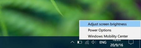 Note that the brightness level adjuster may not appear if you are trying to adjust the screen brightness of a monitor connected to your PC.  Method 4 of 4  Use Control Panel to adjust brightness in Windows 10 This is the classic way to manually adjust the screen brightness in Windows 10.  Step 1: Right-click the battery icon in the system tray of the taskbar, and then click the Adjust screen brightness option to open the Power Options window.