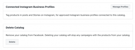 Scroll down to the Connected Instagram Business Profile section and click Manage Profiles.